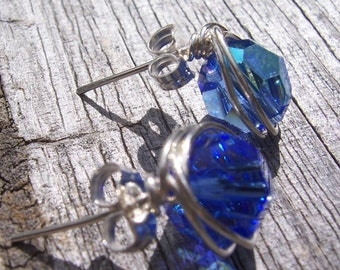Birthstone crystal and sterling silver wire wrapped stud earrings, bridesmaids gifts