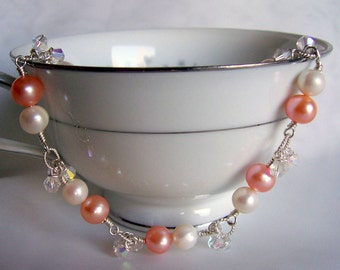 Freshwater peach pearl and crystal bracelet, sterling silver, wedding jewelry, bridal jewelry