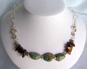 Chunky turquoise nugget and tiger eye wire wrapped sterling silver necklace