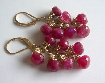 Ruby moonstone gold wire wrapped cluster earrings, ruby moonstone jewelry, July birthstone