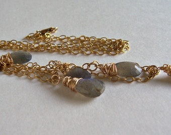 Labradorite and gold chain double strand necklace