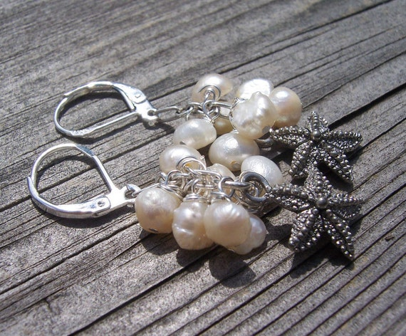 Freshwater pearl and starfish earrings, beach wedding, beach jewelry