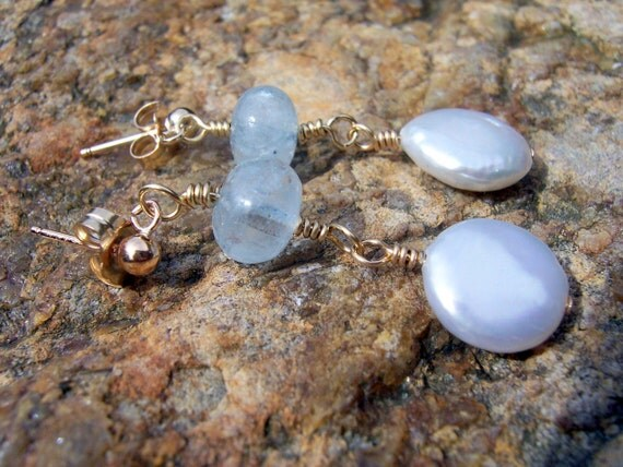 Aquamarine and freshwater pearl gold wire wrapped stud earrings wedding  jewelry bridal jewelry