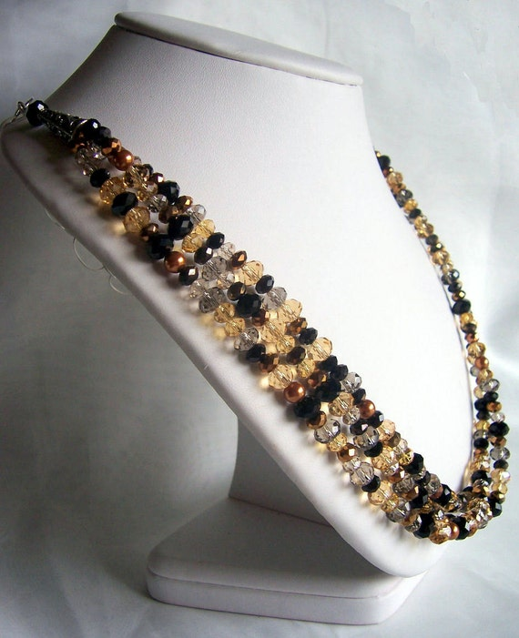Crystal triple strand necklace, crystal jewellery