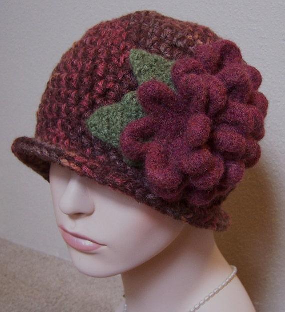 Sale - Sale - Crocheted Shetland Wool Blend Cloche Hat in Fall Colors