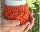 Mug warmer tea coffee cozy hand knit, Pumpkin