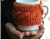 Mug cozy knitted cup cozy pumpkin orange