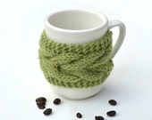 Coffee tea cup cozy mug cozy Green leaf