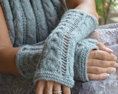 Knit fingerless gloves - arm warmers - lace knit - light gray