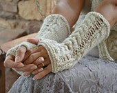 Knit arm warmers oatmeal romantic lace fingerless gloves gift for her