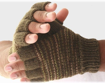 Men's fingerless gloves Great Outdoors knitted gloves warm gift for him camouflage gloves