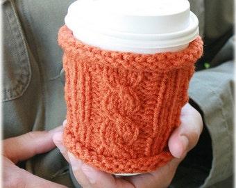 Knit coffee sleeve pumpkin orange reusable cup cozy