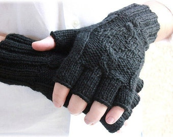 Men's fingerless gloves-midnight black-gift for men-mens fashion-urban style-Valentines Day-gift for him-boyfriend gift