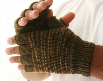 Men's fingerless gloves great outdoors knit gloves gift for him