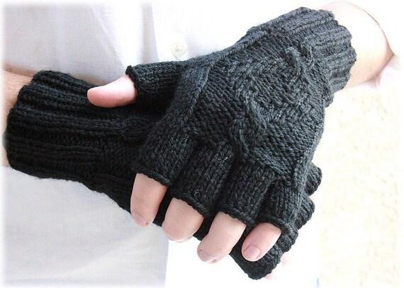 Men's fingerless gloves black Midnight