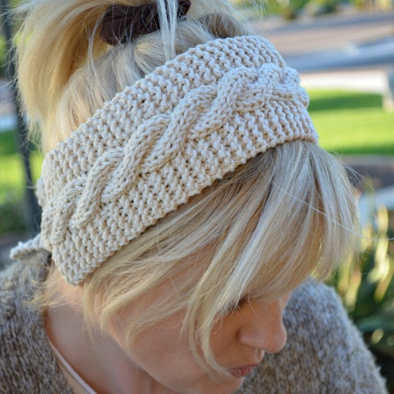 Knit headband off white 100% cotton Christmas gift for her