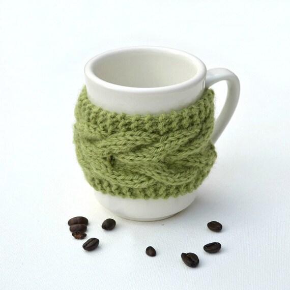 Coffee tea cup cozy mug cozy Green leaf