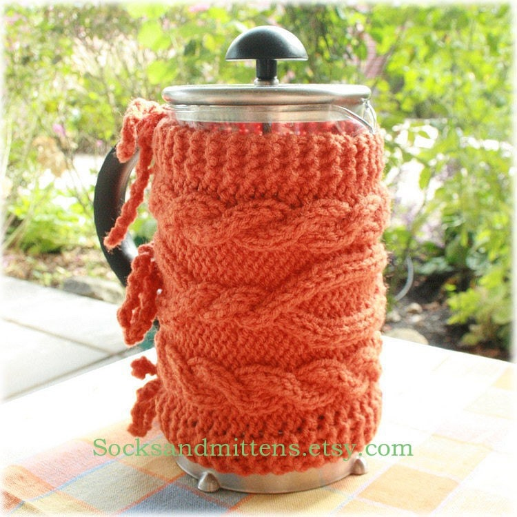 knitted coffee pot cozy for ikea french press coffee pot. Black Bedroom Furniture Sets. Home Design Ideas