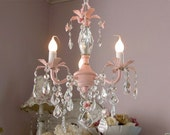 Sweet PINK 3-light baby chandelier with roses