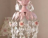 dreamy pink mini chandelier with roses