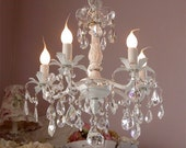 hand beaded 5-light chandelier with crystals