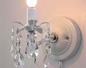 Pair of plug-in wall sconces with crystals