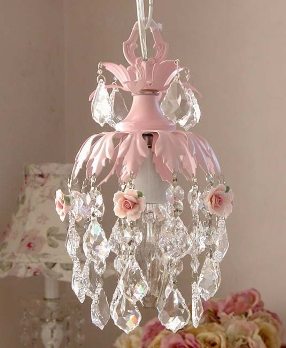 Trendy Chandeliers: Items Similar To Dreamy Pink Mini Chandelier With Roses On