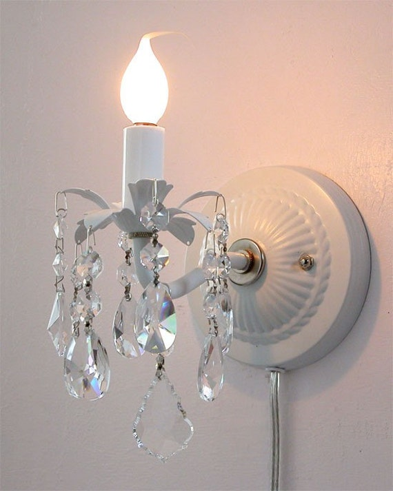 Battery Operated Crystal Wall Sconces : Pair of plug-in wall sconces with crystals