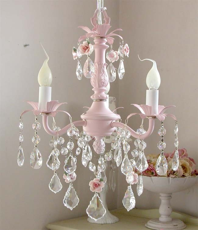 Red Coral Chandelier With 3 Lights: Darling PINK 3-light Baby Chandelier With Roses