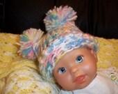 Newborn/Infant Pom pom Jester Style Hat 0-3 months