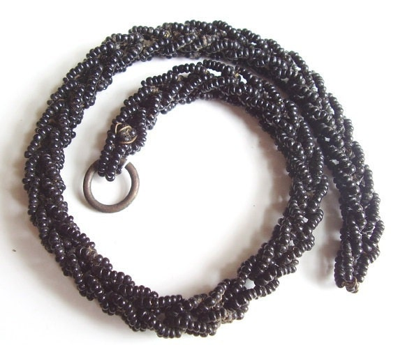 Antique Pocket Watch Chain Mourning Black Beaded Victorian Steam Punk Assemblage Gothic