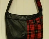 CLEARANCE PRICED - Handmade from a Black Leather Jacket and Scottish Red Plaid Jacket - Handbag - Tote Bag - Hobo Bag