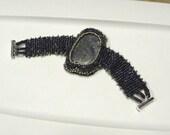 CLEARANCE SALE - Handmade Beaded Polished Blue Stone Cabachon Bracelet
