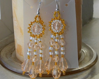 CLEARANCE SALE - Peachy Crystal Dangle Earrings