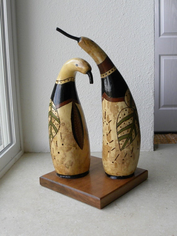 Hand Painted Penguin Gourds