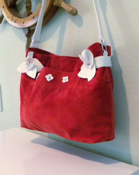 CLEARANCE PRICED - Teen or Adult -  Handmade Red and White Leather Jacket Handbag - Purse