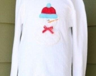 Girls Snowman Applique Shirt Sizes 12M-8Y