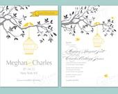 Birdcage Wedding Invite/ Love birds Save the Date