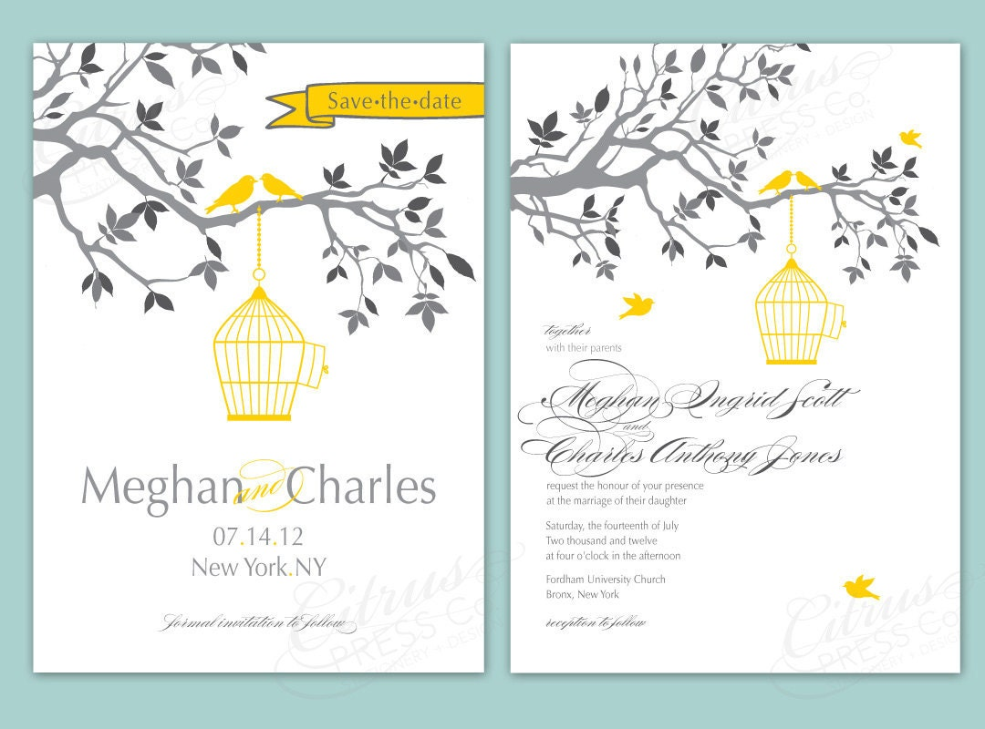 Bird Wedding Invitation: Birdcage Wedding Invite/ Love Birds Save The Date By