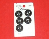 Vintage black buttons 3 quarters in  washable 1 card 5 buttons   B3-1