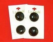 Vintage black leather buttons 22mm (7 eights in)  no wash 2 cards 2 buttons each   B3-2b