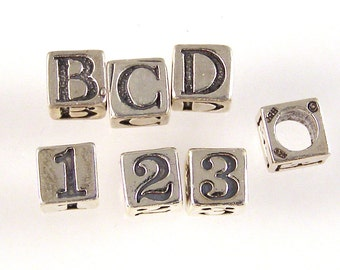 Sterling Silver Letter Beads 4.5mm