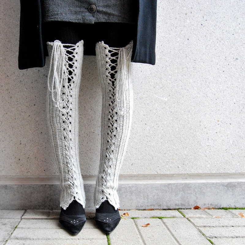 Knitting Pattern For Thigh High Leg Warmers : Thigh High Lace Up Leg Warmers in Very Light Grey
