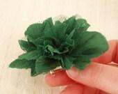 Peony fabric brooch in green