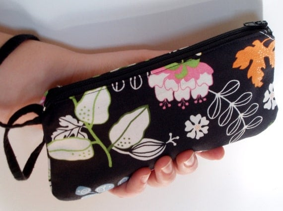 Black wristlet with flowers birds and butterflies