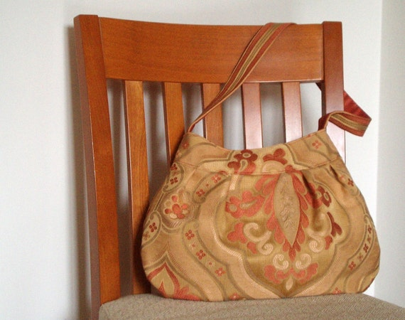 NEW Damask shoulder bag in salmon gold and beige made with recycled upholstery fabric