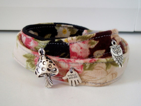 CUSTOM ORDER FOR M. Patchwork fabric bracelets with charms