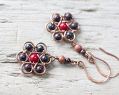 Wire wrapped flower earrings - black and red jasper and coral beaded copper earrings - floral wirework
