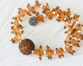 Beaded short necklace with chunky beaded bead, beadwoven from honey amber yellow seed beads, Zulu beadwork inspired seed beads jewelry