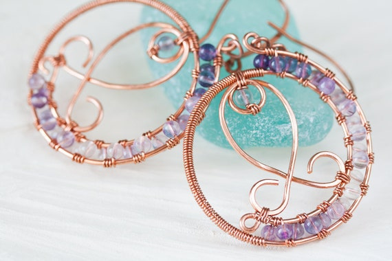Light Purple Fluorite Earrings, Wire Wrapped Beaded Copper Hoop Earrings with Purple Fluorite Gemstone Beads - Copper Wirework Fish ornament